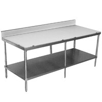 Advance Tabco SPS-248 Poly Top Work Table 24 inch x 96 inch with Undershelf and 6 inch Backsplash