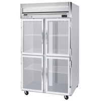 Beverage Air HF2-1HG-LED 2 Section Glass Half Door Reach-In Freezer with LED Lighting - 49 cu. ft., SS Front, Gray Exterior