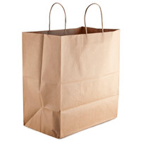 Royal Natural Kraft Paper Shopping Bag with Handles 16 inch x 11 inch x 18 1/4 inch - 200 / Bundle