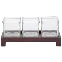 Cal-Mil 1549-2-52 Westport Three Jar Wooden Display - 12 1/2 inch x 4 3/4 inch x 2 inch
