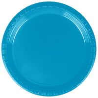 Creative Converting 28313111 7 inch Turquoise Plastic Lunch Plate - 240 / Case