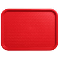 "Carlisle CT121605 Customizable Cafe 12"" x 16"" Red Standard Plastic Fast Food Tray - 24/Case"