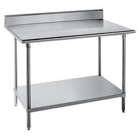 Advance Tabco KSS-244 24 inch x 48 inch 14 Gauge Work Table with Stainless Steel Undershelf and 5 inch Backsplash