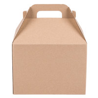 LBP 9511 9 3/8 inch x 6 1/2 inch x 6 3/4 inch Kraft Barn Take Out Box with Handle 50/Case