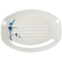 Thunder Group 2309BB Blue Bamboo 9 inch x 6 1/2 inch Oval Melamine Teriyaki Tray - 12/Case