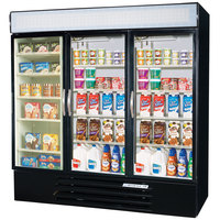 Beverage Air Market Max MMRF72-5-B-LED C/C/F Black 3-Glass Door Dual Merchandising (2) Refrigerator / (1) Freezer with LED Lighting- 72 Cu. Ft.