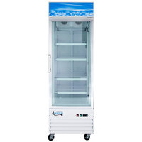 Avantco GDC12F 27 inch White Swing Glass Door Merchandising Freezer with LED Lighting