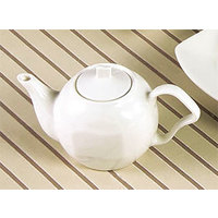 CAC SOH-TP Soho 15 oz. Ivory (American White) Stoneware Tea Pot with Lid   - 24/Case