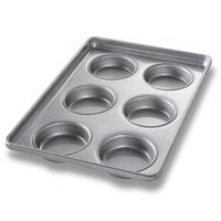 Chicago Metallic 41006 6 Mold Glazed Individual Hamburger Bun / Muffin Top / Cookie Pan