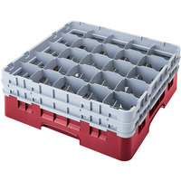 Cambro 25S318416 Camrack 3 5/8 inch High Cranberry 25 Compartment Glass Rack