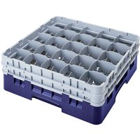 Cambro 25S318186 Camrack 3 5/8 inch High Navy Blue 25 Compartment Glass Rack