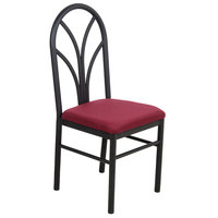 """Lancaster Table &amp&#x3b; Seating Maroon 4 Spoke Restaurant Dining Room Chair with 1 3/4"""" Padded Seat"""