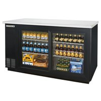 Beverage Air BB58GS-1-B-LED 59 inch Back Bar Refrigerator with 2 Sliding Glass Doors 115V