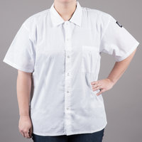Chef Revival CS006WH-M Size 40-42 (M) White Customizable Short Sleeve Cook Shirt - Poly-Cotton Blend