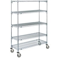 Metro 5A336EC Super Adjustable Chrome 5 Tier Mobile Shelving Unit with Polyurethane Casters - 18 inch x 36 inch x 69 inch