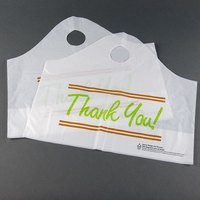 Plastic Thank You 16 1/2 inch x 6 inch x 14 inch Take Out Bag with Wave Handle - 500 / Box