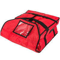 Rubbermaid 9F36 ProServe 18 inch x 17 1/4 inch x 7 3/4 inch Red Insulated Medium Nylon Pizza Delivery Bag