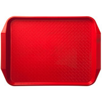 "Carlisle CT121705 Customizable Cafe 12"" x 17"" Red Handled Plastic Fast Food Tray - 12/Case"