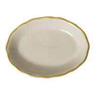 CAC SC-12G Seville 9 5/8 inch x 7 1/8 inch Ivory (American White) Scalloped Edge China Platter with Gold Band - 24/Case
