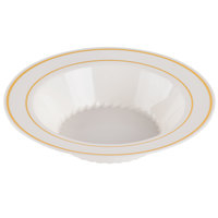 Fineline Silver Splendor 512-BO Bone White 12 oz. Plastic Soup Bowl with Gold Bands - 15 / Pack