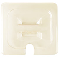 Cambro 60HPCHN150 H-Pan 1/6 Size Amber High Heat Handled Lid with Spoon Notch