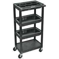 Luxor / H. Wilson MTC40DN-B-B Four Shelf Utility Cart with Three Bins - 15 3/4 inch x 24 inch x 46 1/2 inch