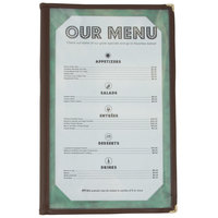 8 1/2 inch x 14 inch Tall Four Pocket Menu Cover - Brown