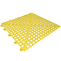 Cactus Mat 2554-YT Dri-Dek 12 inch x 12 inch Yellow Vinyl Interlocking Drainage Floor Tile - 9/16 inch Thick