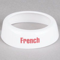 Tablecraft CM2 Imprinted White Plastic French Salad Dressing Dispenser Collar with Maroon Lettering