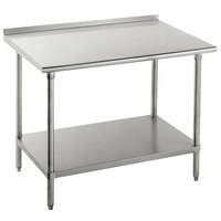 """16 Gauge Advance Tabco FAG-245 24"""" x 60"""" Stainless Steel Work Table with 1 1/2"""" Backsplash and Galvanized Undershelf"""