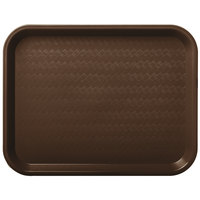 Carlisle CT101469 Customizable Cafe 10 inch x 14 inch Chocolate Standard Plastic Fast Food Tray - 24/Case
