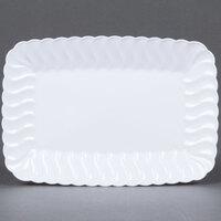 Fineline Flairware 257-WH White 5 inch x 7 inch Plastic Snack Tray - 252 / Case