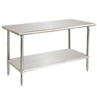 Advance Tabco Premium Series SS-366 36 inch x 72 inch 14 Gauge Stainless Steel Commercial Work Table with Undershelf