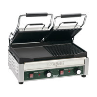 Waring WDG300 17 inch x 9 1/4 inch Two Grooved & Two Smooth Plate Panini Sandwich Grill 240V