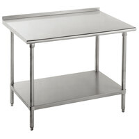 Advance Tabco FLG-363 36 inch x 36 inch 14 Gauge Stainless Steel Commercial Work Table with Undershelf and 1 1/2 inch Backsplash