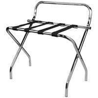 Lancaster Table &amp&#x3b; Seating Chrome Folding Luggage Rack with Guard