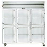 Traulsen G32002 3 Section Glass Half Door Reach In Refrigerator - Right Hinged Doors