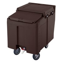 Cambro ICS125L131 Dark Brown Sliding Lid Portable Ice Bin - 125 lb. Capacity