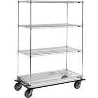 Metro Super Erecta N556JC Chrome Mobile Wire Shelving Truck with Neoprene Casters 24 inch x 48 inch x 69 inch