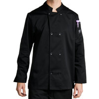 Chef Revival J061BK-M Size 42 (M) Black Customizable Double Breasted Chef Coat - Poly-Cotton