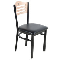 """Lancaster Table &amp&#x3b; Seating Natural Finish Bistro Dining Chair with 1 1/2"""" Padded Seat"""
