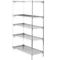Metro 5AA347C Stationary Super Erecta Adjustable 2 Series Chrome Wire Shelving Add On Unit - 18 inch x 42 inch x 74 inch