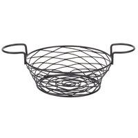 American Metalcraft BNBB83 Round Birdnest Black Metal Basket with 2 Ramekin Holders - 8 inch x 3 3/4 inch