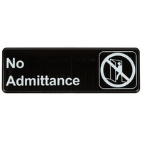 9 inch x 3 inch Black and White No Admittance Sign