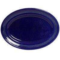 Tuxton Concentrix CCH-136 Cobalt 13 3/4 inch x 10 1/2 inch Oval China Platter 6 / Case