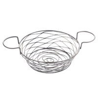 American Metalcraft BNBC80 Round Birdnest Chrome Metal Basket with 2 Ramekin Holders - 8 inch x 3 5/8 inch