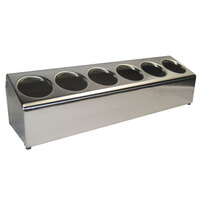 Steril-Sil LTC-6S Six Hole Stainless Steel Flatware Cylinder Holder In-Line
