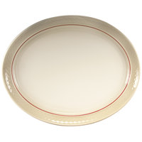 Homer Laughlin 1492-0353 Gothic Red Jade 13 1/8 inch Off White Oval Platter - 12/Case