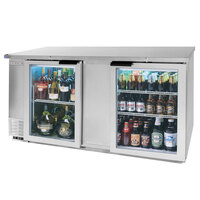 Beverage Air BB68G-1-S-LED 68 inch Back Bar Refrigerator with 2 Glass Doors and Stainless Steel Front - 115V, LED Lighting
