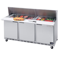 Beverage-Air SPE72-30M 72 inch Mega Top Three Door Refrigerated Salad / Sandwich Prep Table